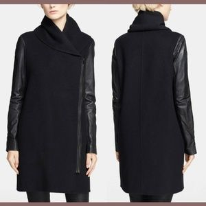 $895 Vince Shawl Collar Mixed Media Leather Coat M